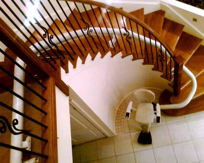 Top View of Indoor Flow 2 Curved Rail Stairlift