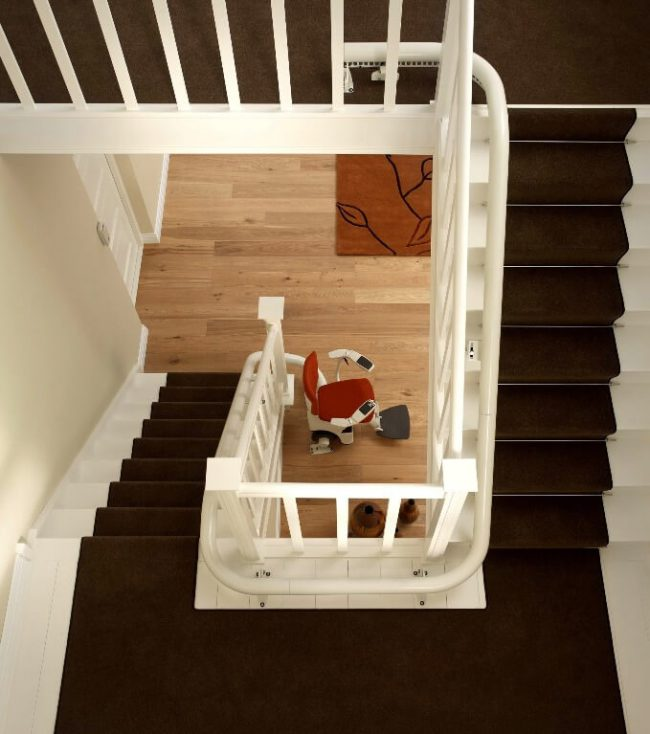 Top View of Flow 2 Curved Rail Stairlift