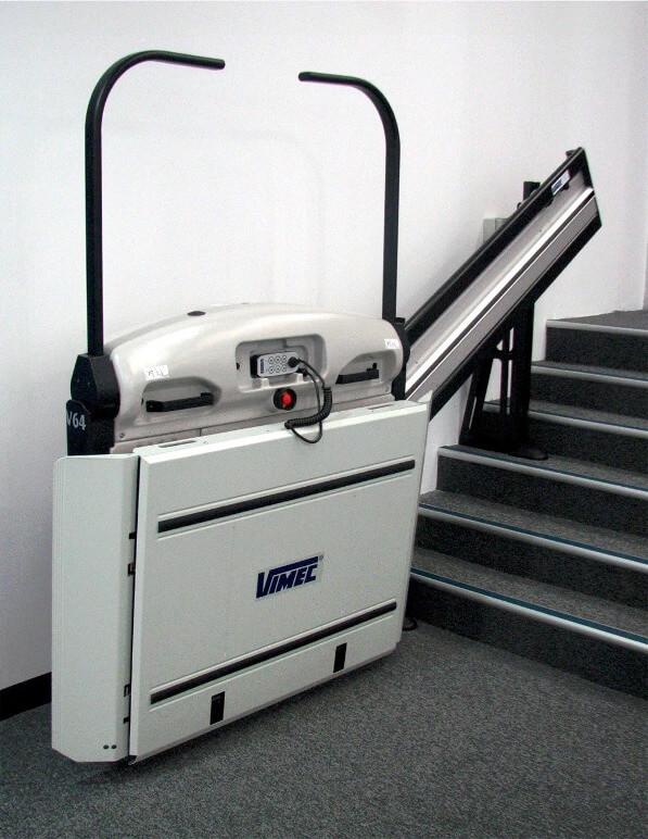 vimec v64 inclined straight rail platform wheelchair lift